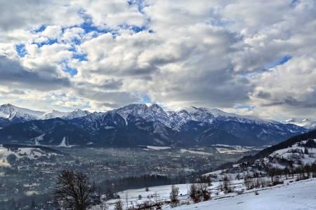 beautiful view of Giewont peak in Zakopane city