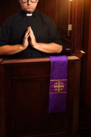priest confesses in the confessional