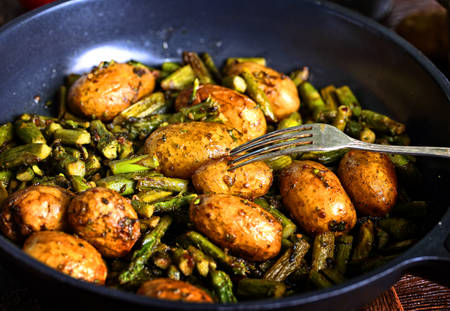 baked asparagus with homemade potatoes