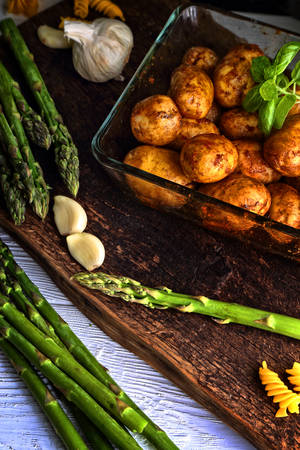 baked asparagus with potatoes