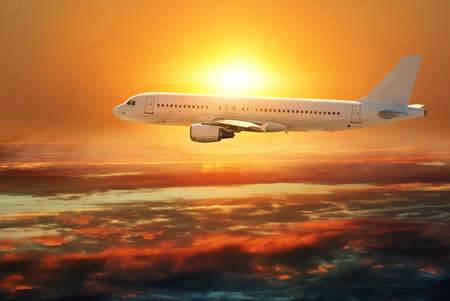 airplane flying against the beautiful sky