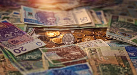 one zloty coin on the background of banknotes - Polish currency Reklamní fotografie