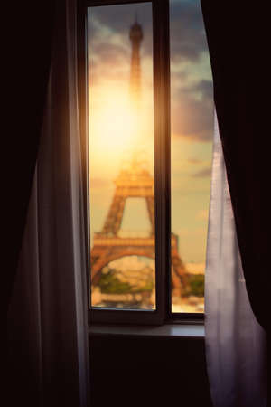 beautiful view of the eifel tower in france from the hotel Stock Photo