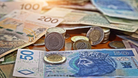 Polish money currency lying on the table
