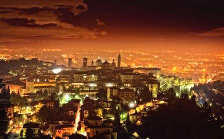 View of Citta Alta in Bergamo at evening