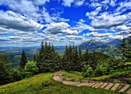 view of the trail in the Polish Tatra Mountains on a beautiful day