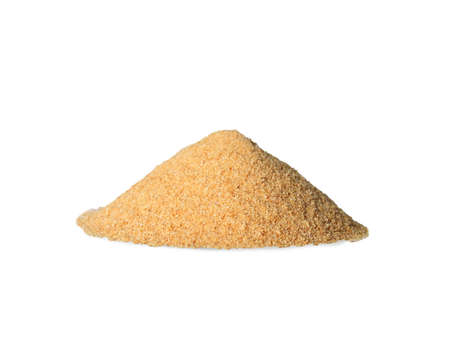 granulated garlic spice on a white background