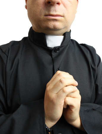 priest in a cassock on white background