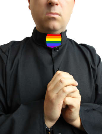 Pray priest in colorful lbgt collar