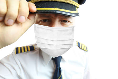 Airplane captain pilot in mask isolated on white