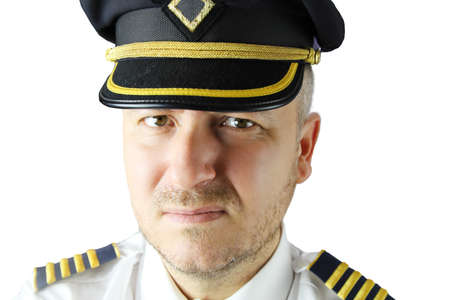 captain of the plane in uniform on white background 免版税图像