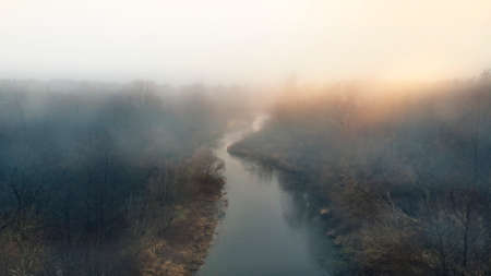 Foggy and sunny morning and view on the river Stock fotó