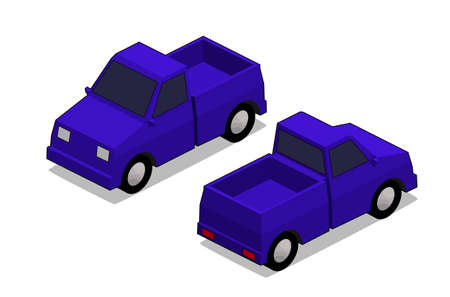 orthographic: orthographic blue truck in isolated white backgound