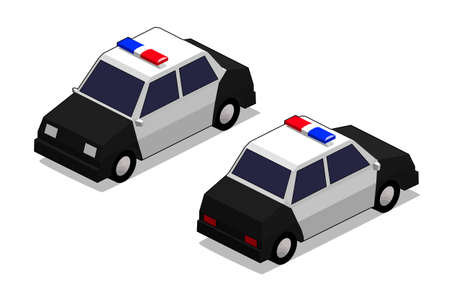 orthographic: orthographic police car in isolated white background Stock Photo