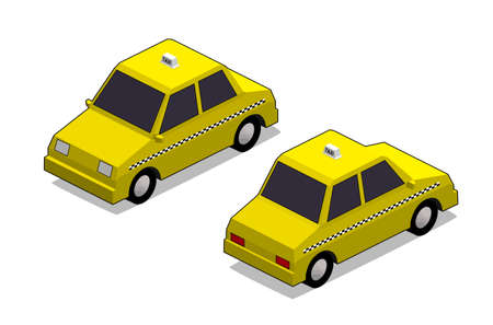 orthographic: orthographic yellow cab in isolated white background Stock Photo