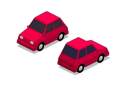 orthographic: orthographic red city car in isolated white background
