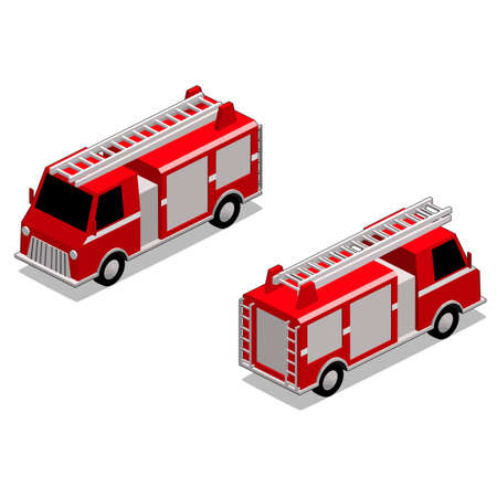 Isometric red firefighter truck in isolated white background. The style is cell shaded, but cell shaded outline can be removed. Illustration