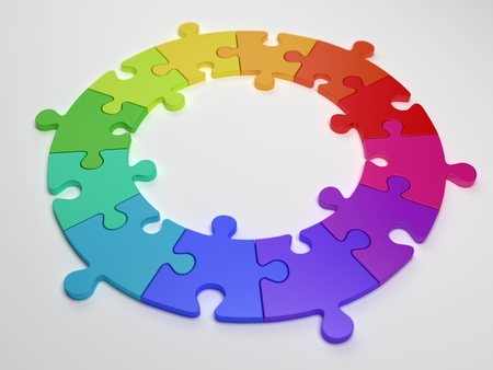 3D Colourful Puzzle Circle Render