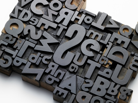 old typefaces in oblique composition Stock Photo