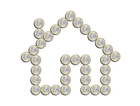 beyaz zemin üzerine euro sikke ev