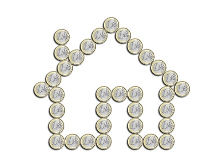 house of euro coins on a white background Stock Photo