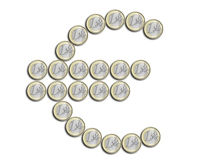 Euro symbol made   of coins on a white background Stock Photo