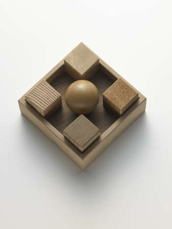 wooden cubes in a box on a white background Stock Photo