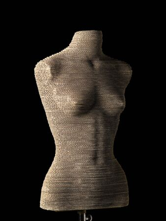 female mannequin cardboard on black background