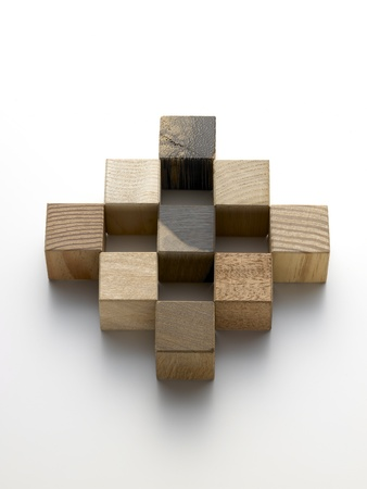 palustre: various wooden cubes on a white background