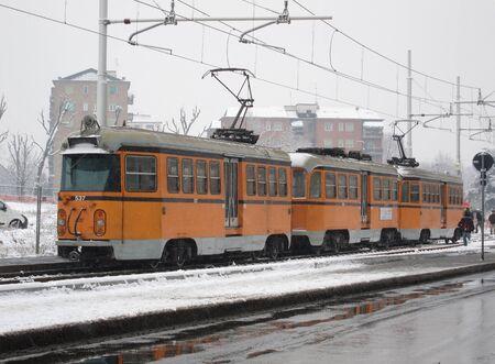 Milan, Italy, 1 february 2012, historic suburban tram line limbiate-milan, Italy
