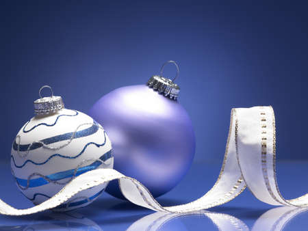 christmas balls on the blue background Stock Photo