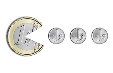 euro coin eating Italian lire coins, on a white background