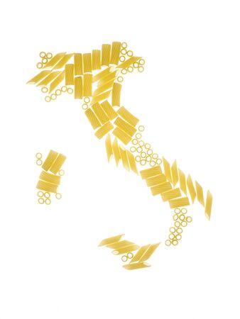 pasta in the shape of the Italian peninsula, on white background Stock Photo