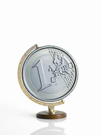 globe, map of the earth, made as a euro coins on white background Stock Photo