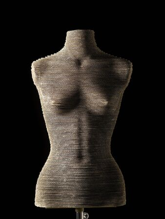 topless women: female mannequin cardboard on black background