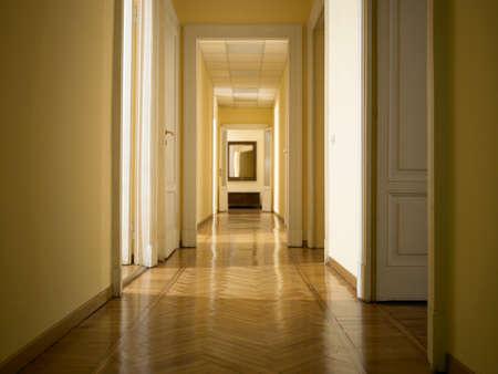 interior classic long corridor with parquet, nobody inside