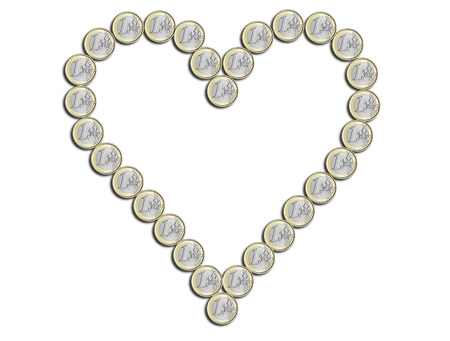 euro in the shape of heart on white
