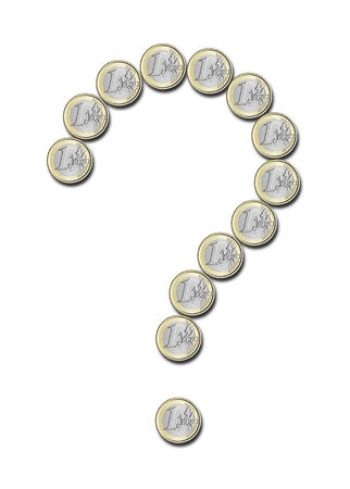 euro coins in the shape of question mark