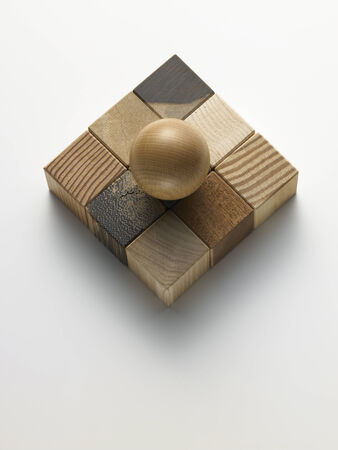 wooden cubes in a box on a white  Stock Photo