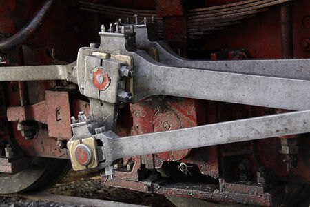 plungers of steam locomotive, closeup