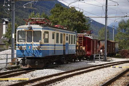 Train station of Santa Maria Maggiore in Italy, Domodossola Editorial