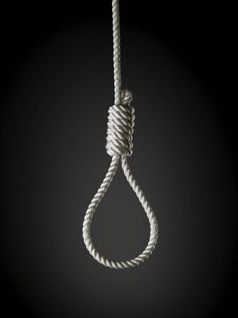 loop of white rope on a black background