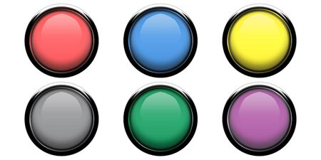 Shiny, glossy orbs in six different colors photo