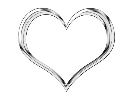 silver jewellery: A shiny, metallic heart shape isolated on white
