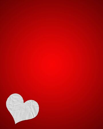 Illustration of white, crumpled paper heart against bright red background (lots of space for copy text)
