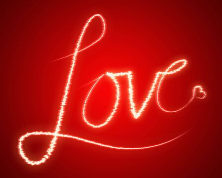 The word LOVE, bright and shiny against red background photo