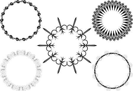 A set of ornate circles Vector