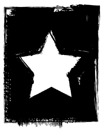 white star line: Star Grunge Frame Illustration