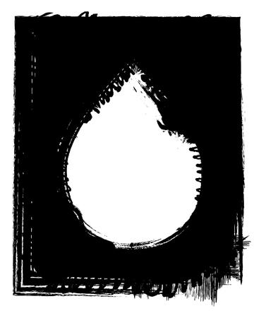 tear drop: Grunge frame tear drop shape