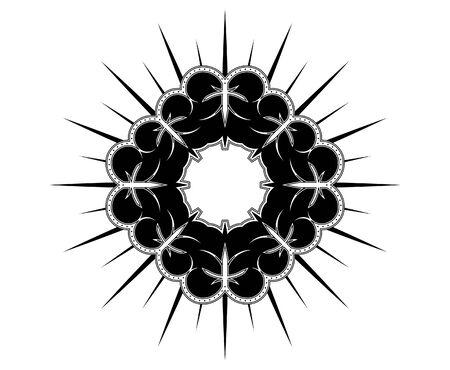 A round, medieval, heraldic crest design Vector